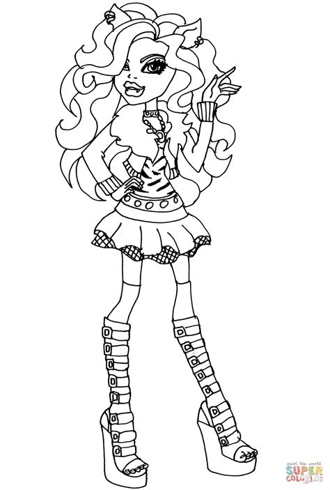 monster high clawdeen wolf coloring page free printable