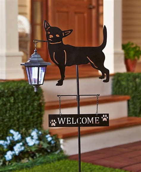 solar sign lights outdoor dog solar light outdoor lantern chihuahua welcome