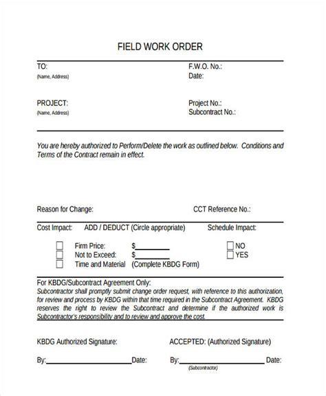 Work Order Forms Field Work Order Template