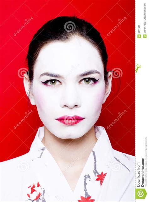Eyeliner Kimono in white geisha makeup stock photo image 6937880