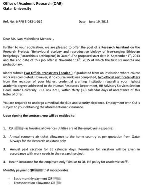Offer Letter Part Time Qatar Offer