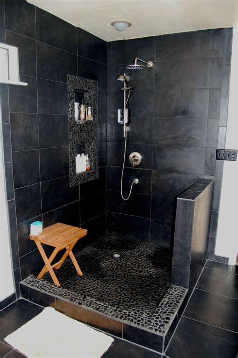 20 Modern Bathrooms With Black Shower Tile Black Tile Bathroom Ideas