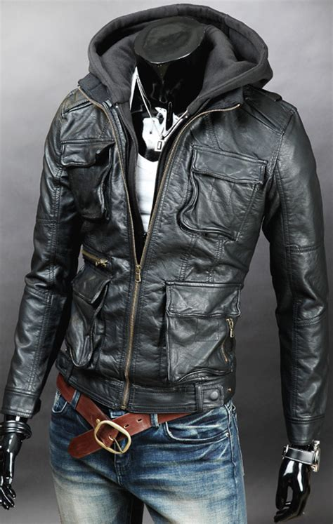 hooded leather jacket mens detachable fabric hooded leather jacket 183 rangoli collection 183 store powered by storenvy