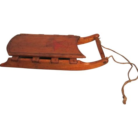 antique miniature wooden folk art sled from lornasdolls on