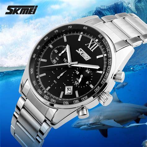 Jam Tangan Pria Casual Stainless Tahan Air 30m Skmei 9118cs skmei jam tangan pria casual stainless water