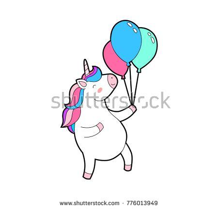 On Jumps Fantasi Pink unicorn happy jumps balloons stock vector 776013949