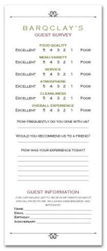 hotel comment card template comments cards on comment burger restaurant