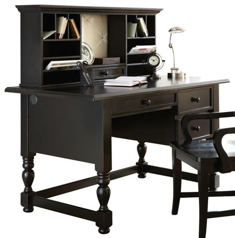 Steve Silver Bella Writing Desk With Hutch In Black Black Writing Desk With Hutch
