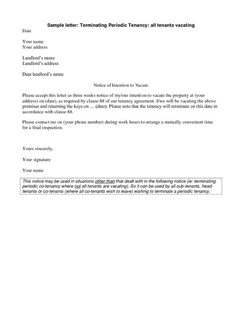 Sample Lease Termination Letter From Landlord To Tenant 50 Best