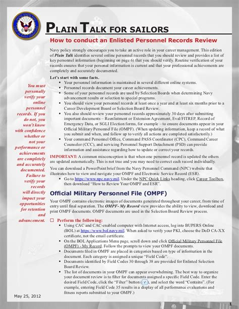Records Review Personnel Record Review Ompf Esr Review