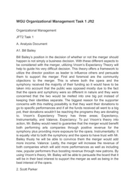 Wgu Mba Management And Leadership Review by Rtt1 Task 1 Organizational And Leadership Wgu Essay