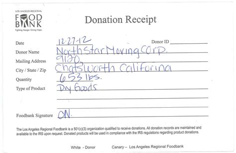 food donation receipt template weight receipt from the la regional food bank