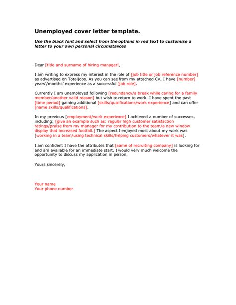 unemployed cover letter template in word and pdf formats