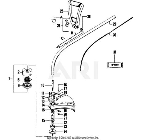 poulan  gas trimmer parts diagram  cutting head assembly