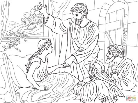 coloring page jesus heals jairus daughter jesus raises jairus daughter coloring page free