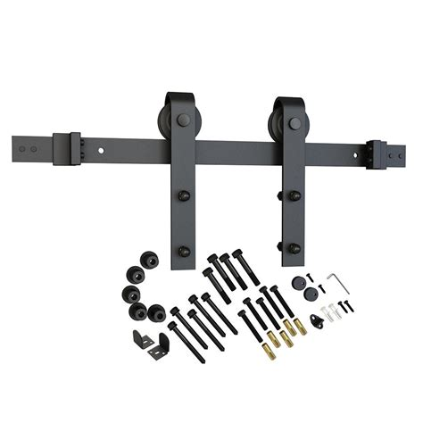 American Pro Decor Black Solid Steel Sliding Rolling Barn Rolling Barn Door Hardware Kit