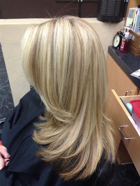long blonde hair with dark low lights long blonde hair long layers low lights highlights by