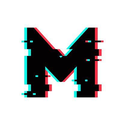 vector logo letter  glitch distortion stock illustration