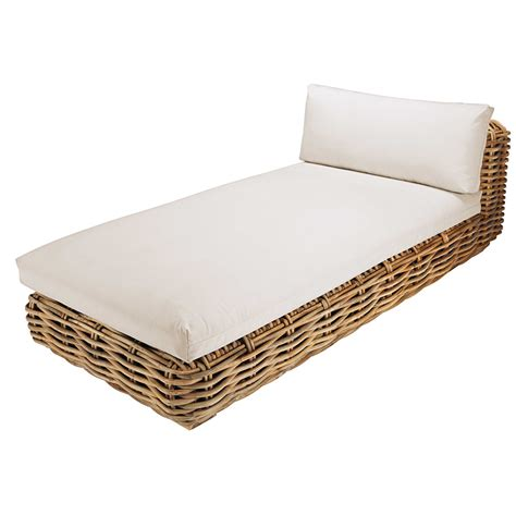 rattan chaise longue garden chaise longue in rattan with ecru cushions st