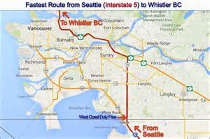 map of seattle washington to vancouver canada west coast duty free