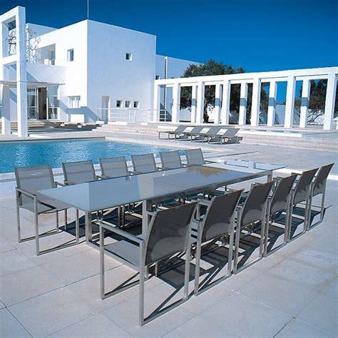 glass top outdoor dining table royal botania glass outdoor extension dining table