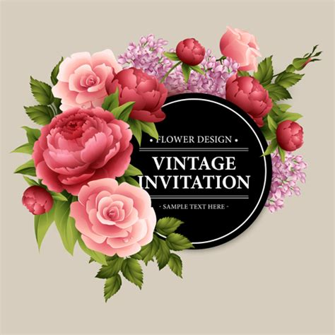 beautiful flowers with vintage invitation card vectors 02
