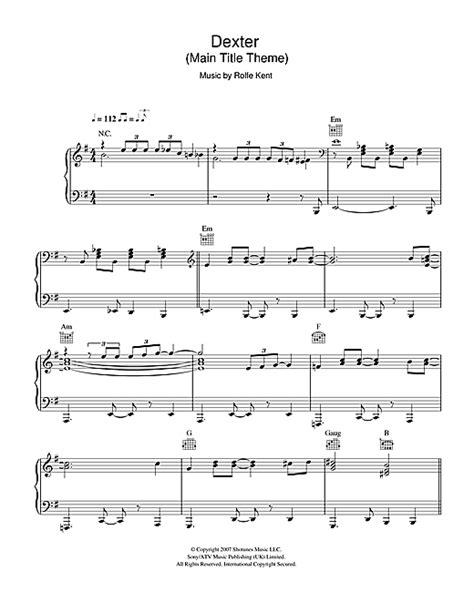 theme music dexter dexter main title theme sheet music by rolfe kent