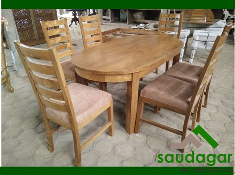 Meja Makan Oval 6 Kursi meja makan kayu jati oval saudagar furniture