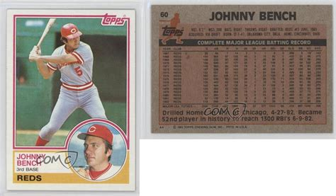 johnny bench cards 1983 topps 60 johnny bench boston red sox cincinnati reds