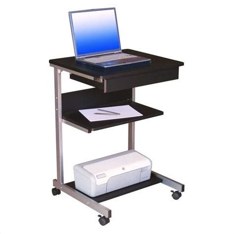 Computer Desk For Laptop Techni Mobili Modus Metal Computer Student Laptop Desk In Graphite Rta B018 Gph06