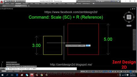 autocad tutorial how to scale command scale reference autocad 2016 youtube