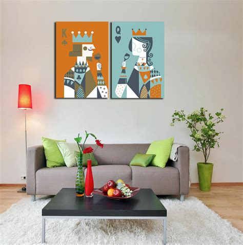 king and queen home decor 2 pieces picture poker king and queen toast painting