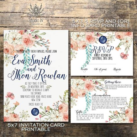 printable wedding invitations floral floral wedding invitation printable wedding invitation