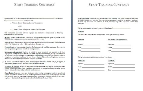 staff contracts template contract template release contract form jpg