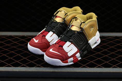 Nike Uptempo X Supreme Gold Premium 2018 supreme x nike air more uptempo tri color black gold for sale cheap jordans 2017