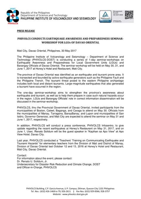 PHIVOLCS conducts earthquake awareness and preparedness