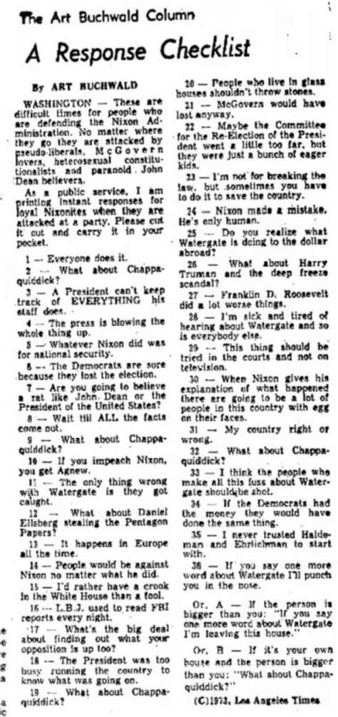 Chappaquiddick Watergate Anorak Buchwald For The La Times In 1973 Nixon Not