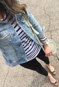 jean jacket stripe top black jeans tan flats teacher