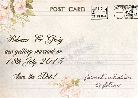 knots and kisses wedding stationery vintage postcard - Wedding Save The Date Cards Postcard Style