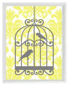 birds wall print yellow gray decor damask bird cage