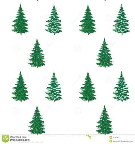 christmas trees painting seamless stock illustration