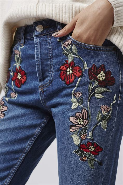 embroidery design jeans lyst topshop moto embroidered straight jeans in blue