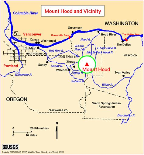 map of oregon volcanoes the volcanoes of lewis and clark mount drainages map