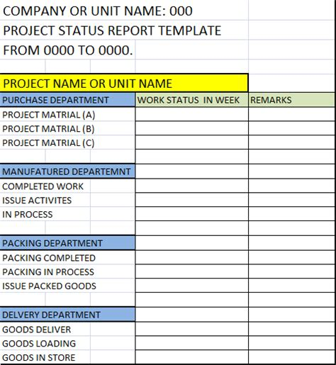 daily status template project status report template free report templates