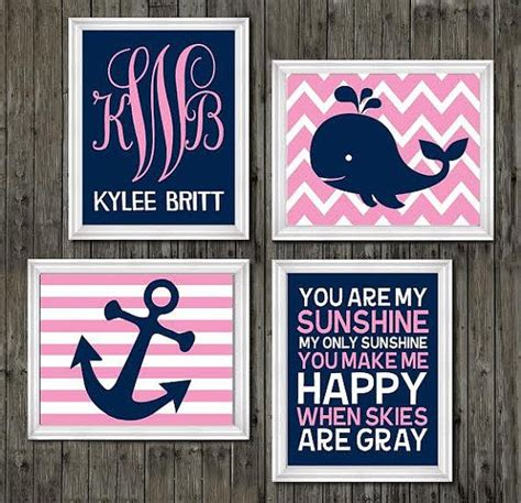 Pink And Navy Nursery Decor Nursery Decor Whale Nursery Whale Theme Pink And Blue Navy Blue And Pink Nursery