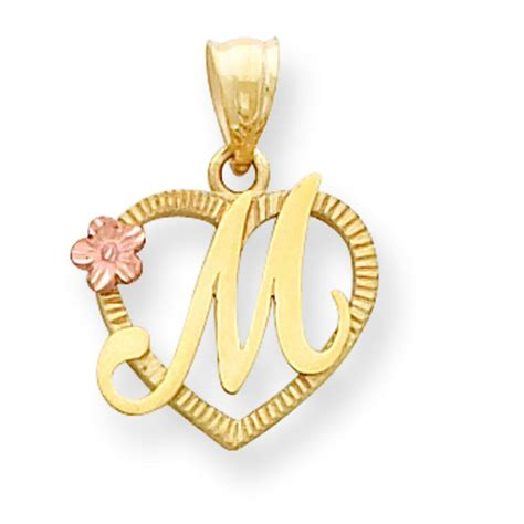 14K Two Tone Gold Initial Letter M Heart Charm Jewelry | eBay M Letter In Heart