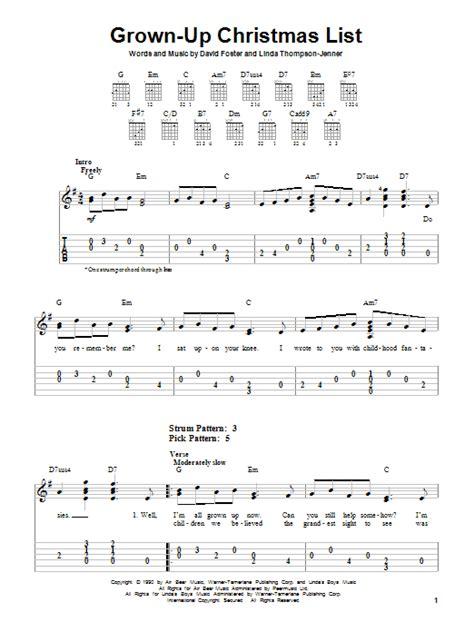 Grown Up Christmas List Guitar Chords