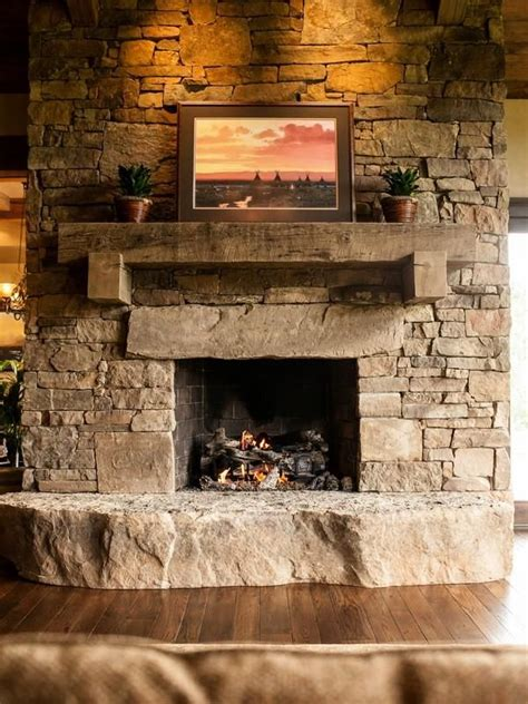 Stone Fireplace With Timber Mantle In And Out Fireplaces Rocks For Fireplace