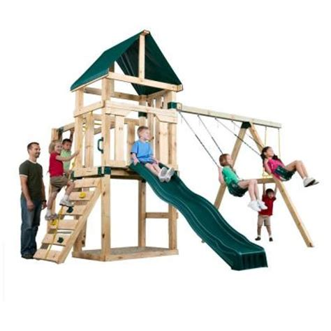 home swing set wooden swing set kits home depot