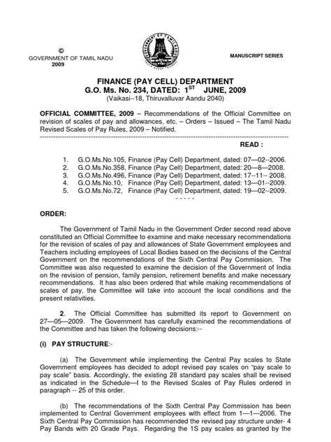 Finance Division Letter Tamilnadu Sixth Pay Commission